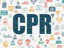 Health concept: CPR on wall background Stock Image
