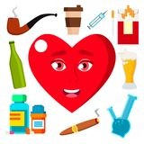 Health Concept, Heart Surrounded By Cigarettes, Alcohol, Medicine And Coffee Vector. Isolated Cartoon Illustration royalty free illustration