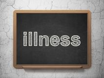 Health concept: Illness on chalkboard background. Health concept: text Illness on Black chalkboard on grunge wall background, 3D rendering Stock Photos
