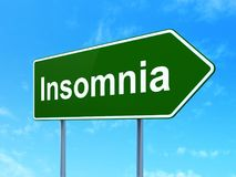 Health concept: Insomnia on road sign background. Health concept: Insomnia on green road highway sign, clear blue sky background, 3D rendering Stock Photography