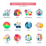 Health and longevity icons modern activity durability vector natural healthy life product food nutrition illustration Stock Photography