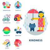 Health and longevity icons modern activity durability vector natural healthy life product food nutrition illustration Royalty Free Stock Image