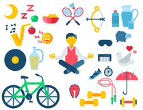 Health and longevity icons modern activity durability vector natural healthy life product food nutrition illustration. Health concept and longevity icons modern Royalty Free Stock Image