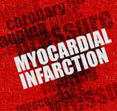 Health concept: Myocardial Infarction on the Red Wall . Royalty Free Stock Photos
