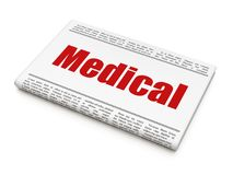 Health concept: newspaper headline Medical. On White background, 3D rendering Stock Image