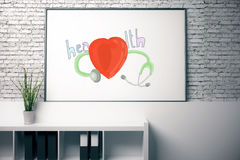 Health concept. Office whiteboard with creative heart and stethoscope sketch on brick background. Health concept. 3D Rendering Royalty Free Stock Images