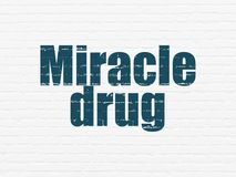 Health concept: Miracle Drug on wall background. Health concept: Painted blue text Miracle Drug on White Brick wall background Royalty Free Stock Photography