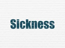 Health concept: Sickness on wall background. Health concept: Painted blue text Sickness on White Brick wall background Royalty Free Stock Photography