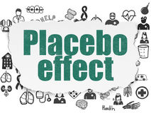 Health concept: Placebo Effect on Torn Paper background. Health concept: Painted green text Placebo Effect on Torn Paper background with  Hand Drawn Medicine Royalty Free Stock Photos