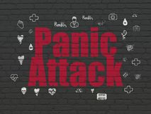 Health concept: Panic Attack on wall background. Health concept: Painted red text Panic Attack on Black Brick wall background with  Hand Drawn Medicine Icons Stock Photography