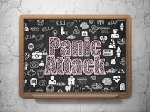 Health concept: Panic Attack on School board background. Health concept: Chalk Pink text Panic Attack on School board background with Hand Drawn Medicine Icons royalty free stock images