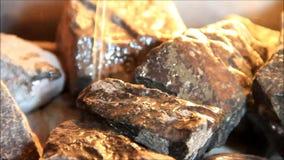 Health concept, sauna, hot stones, steam, therapy, spa