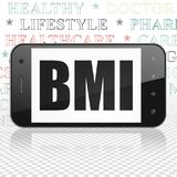 Health concept: Smartphone with BMI on display. Health concept: Smartphone with  black text BMI on display,  Tag Cloud background, 3D rendering Royalty Free Stock Photo