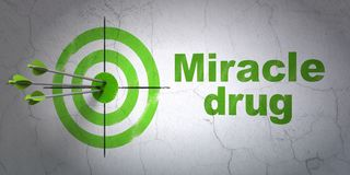 Health concept: target and Miracle Drug on wall background Royalty Free Stock Photos