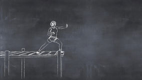 Health concept woman exercising. 3D illustration of a drawing on a blackboard of a woman exercising Stock Photo