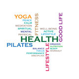 Health concept word cloud. Fitness, lifestyle, related ideas. Illustration  on white.  EPS file available Royalty Free Stock Photography
