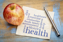 Health concept - word cloud on napkin. Health concept - word cloud of contributing factors diet, lifestyle, healthcare, family history, environment, exercise stock images
