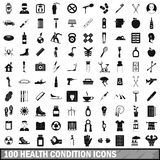 100 health condition icons set, simple style Royalty Free Stock Images