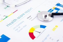 Health condition score report. Stethoscope on medical background Royalty Free Stock Photos