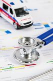 Health condition score report. Stethoscope on medical background. With ambulance toy composition stock photo