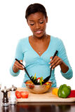 Health Conscious - Tossing Salad Stock Photo