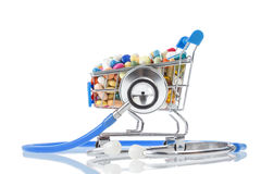 Health and consumerism concept. Stethoscope  shopping cart. Stethoscope and shopping cart on a white background Royalty Free Stock Photos