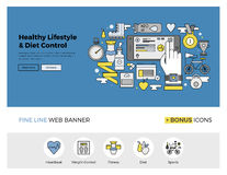 Health control flat line banner Stock Image