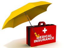 Health cover insurance. Medical insurance or health cover with first aid box under an umbrella, on white background, concept of medical risk coverage Royalty Free Stock Photo
