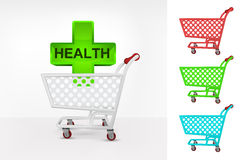 Health cross in shopping cart colorful collection concept vector Royalty Free Stock Image