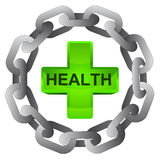 Health cross in strong steel circle chain  Royalty Free Stock Photos