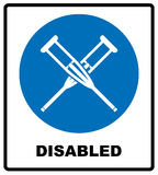Health crutches icon flat. Illustration isolated vector sign symbol. Disabled icons, ask for assistance. Notice banner Royalty Free Stock Image