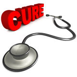 Health cure. Cure word next to a Stethoscope in 3d, concept of medical help and disease cure royalty free illustration
