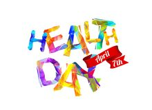 Health day. April 7th. Triangular letters. Health day. April 7th. Vector inscription of triangular letters Royalty Free Illustration