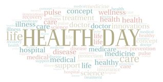 Health Day word cloud. Wordcloud made with text only vector illustration