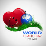 Health day world1. World Health Day. Vector composition of the heart of the globe and a stethoscope on the grass with camomiles, located on a white background Stock Photos