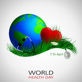 Health day world1. World Health Day. Vector composition of the heart of the globe and a stethoscope on the grass with camomiles, located on a white background Stock Image