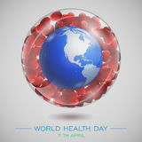 Health day world1. World Health Day. Vector composition of the heart of the globe and a stethoscope on the grass with camomiles, located on a white background Stock Photography