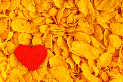 Health diet concept, healthy breakfast. Love corn flakes background Stock Photography