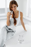 Health And Diet Concept. Woman Drinking Water. Healthy Eating. H Stock Images