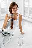Health And Diet Concept. Woman Drinking Water. Healthy Eating. H Royalty Free Stock Image
