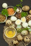 Health & Diet quail eggs on the kitchen table. Some fresh eggs of quail on the table. Quail eggs ready to eat. Royalty Free Stock Photo