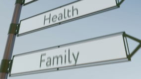 Health direction sign on road signpost with different life values captions. Conceptual 4K conceptual animation vector illustration