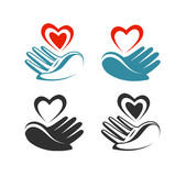 Health, donation, charity logo or label. Hand holding heart, symbol. Vector illustration vector illustration