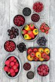 Health Eating with Anthocyanin Food. Healthy super food selection of fruit, pulses, vegetables and grains high in anthocyanins, antioxidants and vitamins. Health stock photo