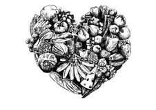 Health eating - Heart of food - Hand Drawn food heart illustrati. Health eating - Heart of food. Simple hand drawn heart filled with different types of foods Royalty Free Stock Photography