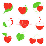 Health and eco hearts icons. Set of hearts icons with health and eco motifs Royalty Free Stock Photo
