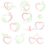 Health and eco hearts icons. Set of hearts icons with health and eco motifs Royalty Free Stock Image