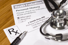 Health Evaluation Form Royalty Free Stock Images