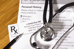 Health Evaluation Form Royalty Free Stock Photography