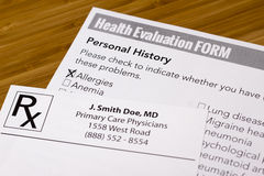 Health Evaluation Form Stock Photos